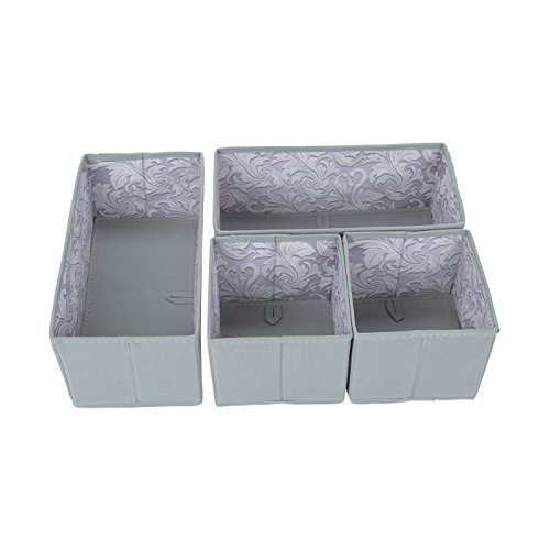sbs-fabric-drawer-organisers-spanish-gray-with-feather-leaf-interior-4-pack-2-medium-2-small