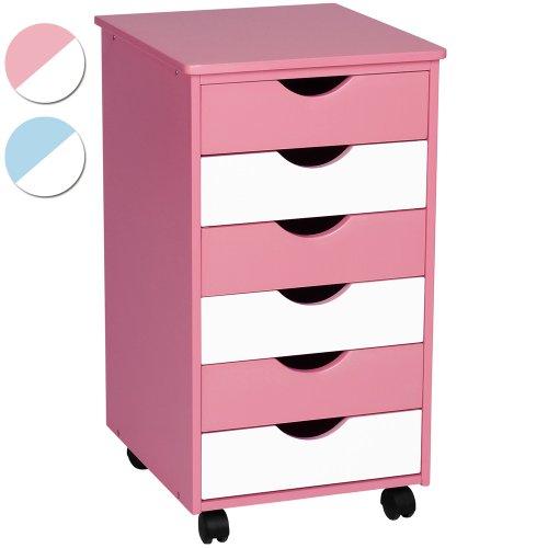 Infantastic Rollcontainer Schubladenschrank Holzkommode Kinderzimmer Kommode (65x36x40cm) - Farbwahl: rosa/weiss oder blau/weiss