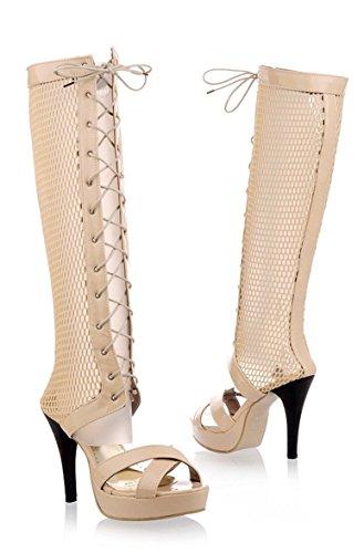YE Offene High Heels Plateau Gladiator Stiefel Lace Up Römersandalen Damen Hoch Mit Absatz Sommer Stiefel Schuhe Beige