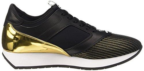 Bikkembergs Runn-Er 634 L.Shoe W Fab/Lycra/Shiny S.Leath, Pompes à Plateforme Plate Femme Noir (Black/Gold)