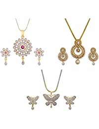 Aabhu Gold Plated American Diamond Combo Of 3 Fancy Pendant Set Necklace With Earrings Jewellery For Women And...