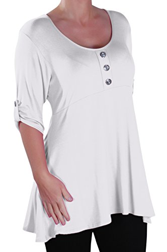 EyeCatch - Eva Aux femmes Bouton Avant Aavec Encolure Dégagée Tunique Grande Taille Dames T-shirt Long Tops Blanc
