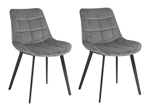 Meubletmoi Chaises Tissu Gris Velours Doux matelassé Confortable - Pieds métal Noir -Design Contemporain Chic Tendance - Lot de 2 - Glossy
