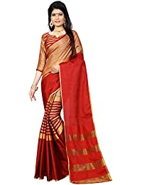 Finix Fashion Women's Chanderi Silk Saree With Blouse Piece (Multi-Color)