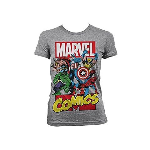 Officiellement Marchandises Sous Licence Marvel Comics Heroes Femme T-Shirt (H.Grey), Medium