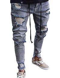 WanYangg Jeans Déchiré pour Homme, Hommes Effet Usé Slim Biker Zipper Genou  Troué Denim Pantalon 8dc3039ca5e5