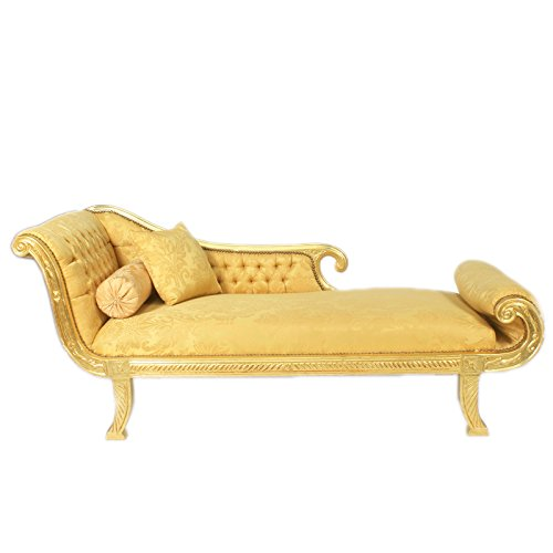 Casa Padrino Barock Chaiselongue Modell XXL Gold Muster/Gold- Antik Stil - Recamiere Wohnzimmer Möbel -
