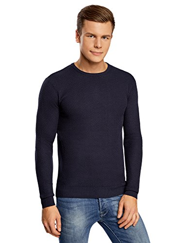 oodji Ultra Uomo Maglione Basic in Rilievo, Blu, IT 50-52 / EU 52-54 / L