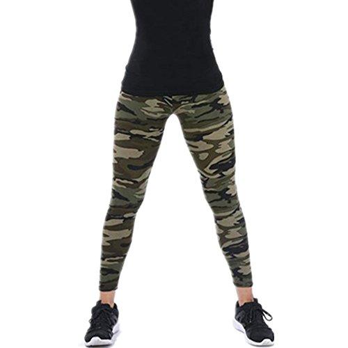 TUDUZ Damen Lang Sport Yoga Leggings Hosen Camouflage Printed Enge Leggings (G) -