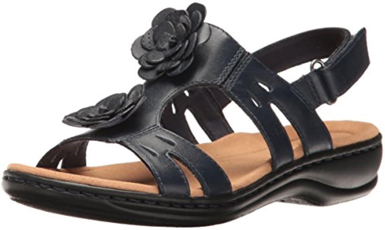 Clarks Wouomo Leisa Claytin Flat Sandal, Navy Leather, 6 W US | Eccellente  Qualità  | Uomo/Donna Scarpa