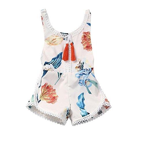 Sommer Outfits Unisex Strampler Mädchen Junge Baby Overall Kleidung (70CM (3-6M), weiß)