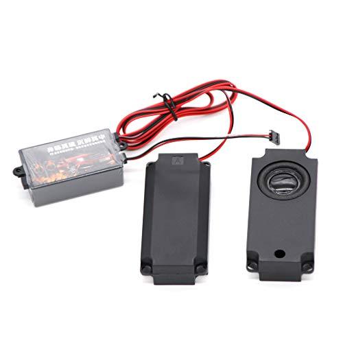 Luccase Schwarz Motor Sound Kit 65x37x21mm Kunststoff Gasgestänge Gruppen Motor Sound Simulator mit 2 Lautsprechern Kompatibel mit RC Modellauto