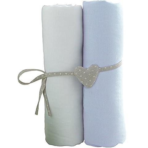 babyCalin lot de 2 Draps Housse Blanc/Bleu Ciel 60 x 120 cm