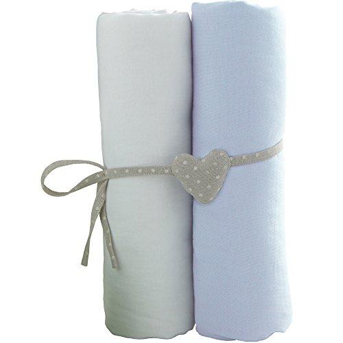 Babycalin - lot de 2 draps housse Blanc/Bleu ciel - 70x140 cm