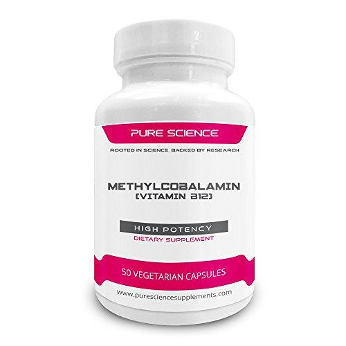 Pure Science Vitamin B12 8000mcg Methylcobalamin - Vitamin B12 ergänzt die Verbesserung der körperlichen Energie, die Gehirn- und Nervenzellen Gesundheit, erhöht die Antioxidantien Vitamin B12 - 50 Kapseln Vegan