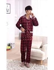 &zhou pijama hombre ocio mantener suelta alta gama cálida de invierno pijamas gruesos ropa hogar conjuntos , wine red , l