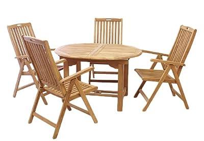 DIVERO Gartenmöbelset Sitzgruppe Teakholz Tisch 120/170 cm