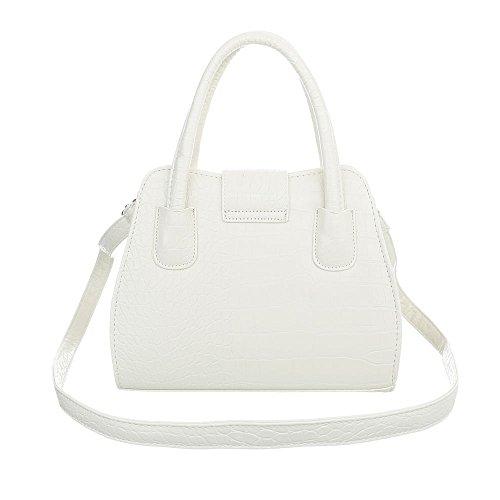 iTal-dEsiGn Damentasche Kleine Schultertasche Used Optik Handtasche Kunstleder TA-C2230 Weiß