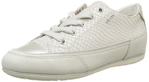 Geox D New MOENA D, Damen Sneakers, Elfenbein (Off WHITEC1002), 39 EU (6 Damen UK) (Leder-hi-low Rock)