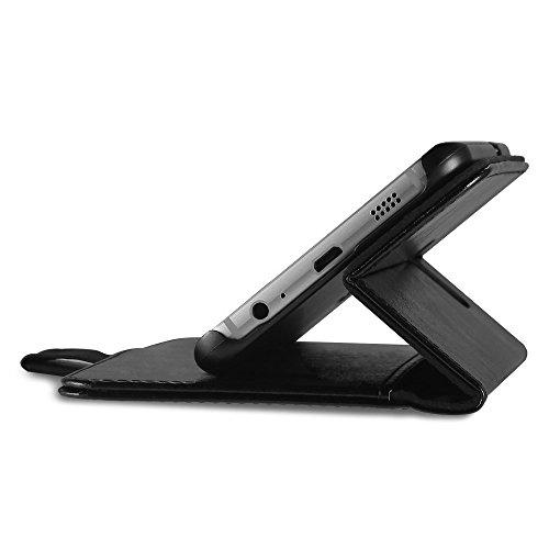 EasyAcc Samsung Galaxy S6 Edge Plus Hülle Lederhülle Tasche Handyhülle mit Standfunktion Card Holder Kunstleder Schwarz - Card Geld Holder Magnet Clip