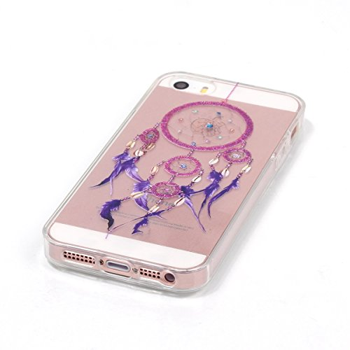 SainCat Coque Housse pour Apple iPhone 5s,Transparent Coque Silicone Etui Housse,iPhone 5 Silicone Case Soft Gel Cover Anti-Scratch Transparent Case TPU Cover,Fonction Support Protection Complète Magn violet campanule