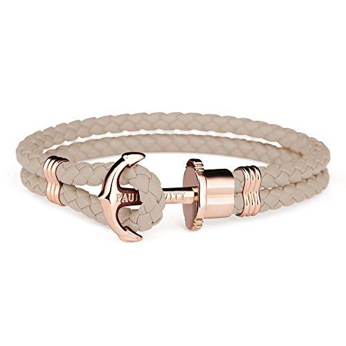 PAUL HEWITT Anker Armband Damen PHREP - Segeltau Armband Frauen, Leder Armband Damen (Braun) mit Anker Schmuck aus IP-Edelstahl (Rosegold)