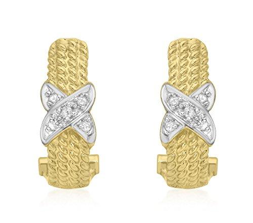 Carissima Gold Damen-Ohrringe 9 Karat (375) Gelbgold Rundschliff Diamant (Pave Diamant-ohrringe)