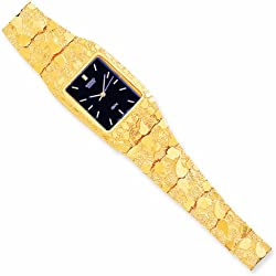PriceRock 10K Gold Black 27X47mm Dial Square Face Nugget Watch 8 Inches