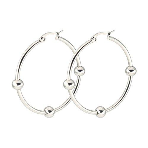 Bishiling 1 Paar Edelstahl Ohrringe Herren Herz 40MM Piercing Creolen Ohrringe (Frauen In Trachten Griechische)