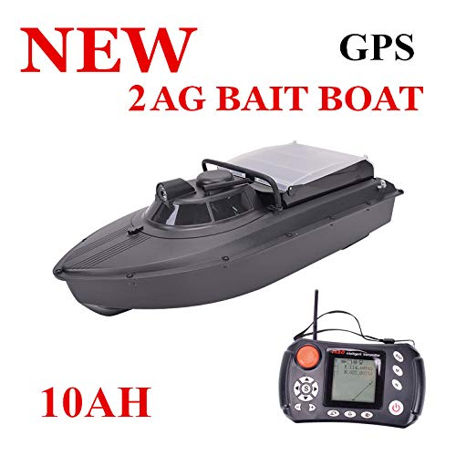 San Qing Bait Fishing Boat Lure Rc Boat 328yd Double 380 Powerful Engine Power GPS Back Navigation Automatic 8 Positioning Nuclear Charge 3.3ib Black 10AH,10AH -