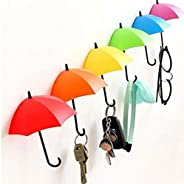 6Pcs Colorful Umbrella Wall Hook Key Hair Pin Holder Organizer Holder Wall Hook Hanger Room Decorative