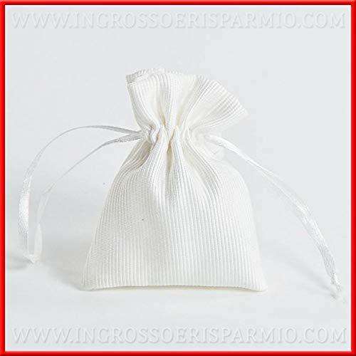 Ingrosso e Risparmio 12 Sacchettini Bianchi rigati in Cotone con tiranti per confettate Fai da Te Matrimonio Battesimo Comunione (Senza confezionamento)
