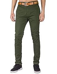 Idea Regalo - Italy Morn Uomo Uomini Chino pantaloni kaki misura sottile pantaloni in tessuto twill di cotone elasticizzato XL Esercito Verde