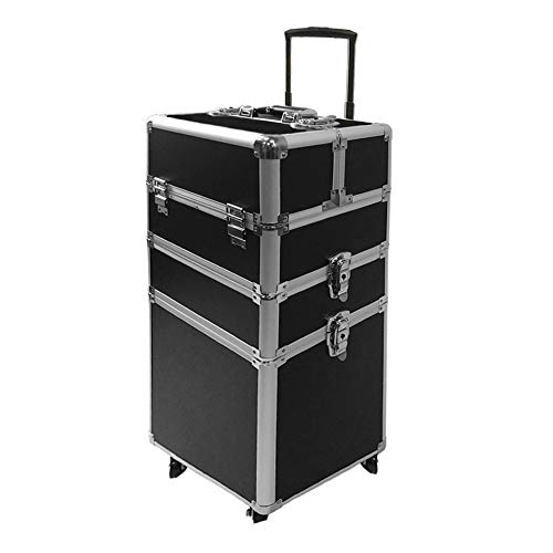 SAILUN 3 couches cas cosmétiques beauté aluminium Maquillage Chariot avec le télescopique et roues doubles 350 * 250 * 670 mm (Noir)