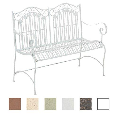 CLP Metall-Gartenbank RONJA im Landhausstil, Eisen lackiert, 108 x 55 cm, 2er Sitzbank Antik Weiß