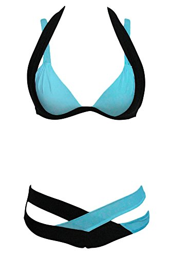 Vococal - Frauen-Damen Bikini Badeanzug Badeanzug Set - Flickwerk Kreuz und quer Bandage Push-Up-Halter Bathing Suit Set 1# Schwarz
