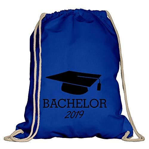 Shirtdepartment - Turnbeutel - Bachelor 2019 Royalblau-schwarz