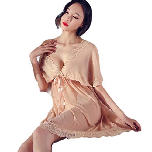 CuteRose Womens Mesh Kaftan Lace Hem Nightgown Open Back Cheeky Sleeping Dress Apricot S Apricot Sleeveless