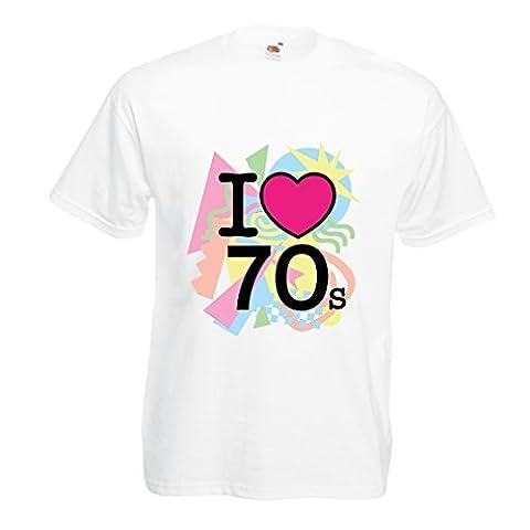 T-shirt pour hommes I love 70's - vintage style clothing (Large Blanc Multicolore)