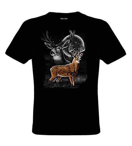 DarkArt-Designs Deer Wilderness - Hirsch im Mondschein T-Shirt für Kinder und Erwachsene - Tiermotiv Shirt Wildlife Lifestyle regular fit Black