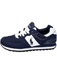 POLO RALPH LAUREN PONY Slaton NEWPORT zapatos azul marino hombre zapatillas de deporte de cuero