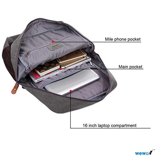 """Wewod-Zaino per la scuola o per mezzo di High School studenti con un 39,62 cm (15,6"""") scomparto per Laptop, in tessuto, Cachi (Multicolore) - SB1259 marrone"""