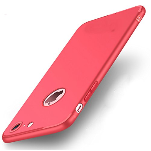 Enflamo Bumper Protective Soft Silicone Slim Back Cover Case for Apple iPhone 7  Red