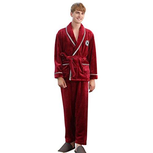 YiLianDa Autunno E Inverno Caldo Pigiama A Maniche Lunghe Da Notte Sleepwear Rosso(Uomo)