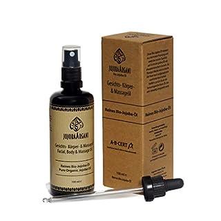 BIO Jojobaöl 100ml vegan nativ rein kaltgepresst für Haar Haut Körper & Gesicht. Zertifizierte Naturkosmetik aus eigener Herstellung.