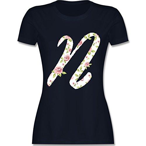 Anfangsbuchstaben - N Rosen - tailliertes Premium T-Shirt mit Rundhalsausschnitt für Damen Navy Blau