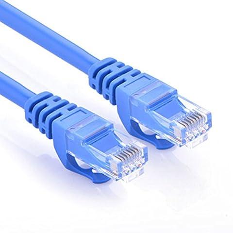 CAT.6 Câble réseau Gigabit LAN Ethernet (RJ45), Câble de raccordement, UTP, compatible CAT.5 / CAT.5e / CAT.7, Switch / Routeur / Modem / Patch panel, Point d'accès, 10/100 / 1000Mbit / s (15m, bleu)