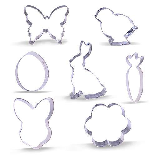 Set di stampini per biscotti pasquali – 7 pezzi – coniglio, testa di coniglio, uovo di Pasqua, fiore, carota, pulcino e farfalla – acciaio inox