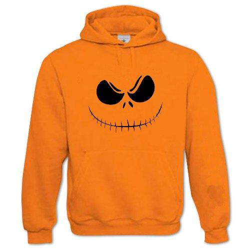 nisex-Erwachsene Halloween Kürbisgesicht 3 Kapuzenpullover Größe XXL Orange ()