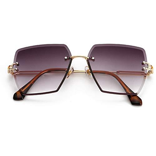 HUWAIYUNDONG Sonnenbrillen,Platz Randlose Sonnenbrille Frauen Kristall Verlaufsglas Klare Sonnenbrille Damen Vintage Übergroße Brillen Lila